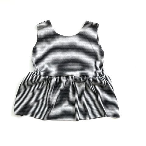 Peplum Tank, Black Stripe
