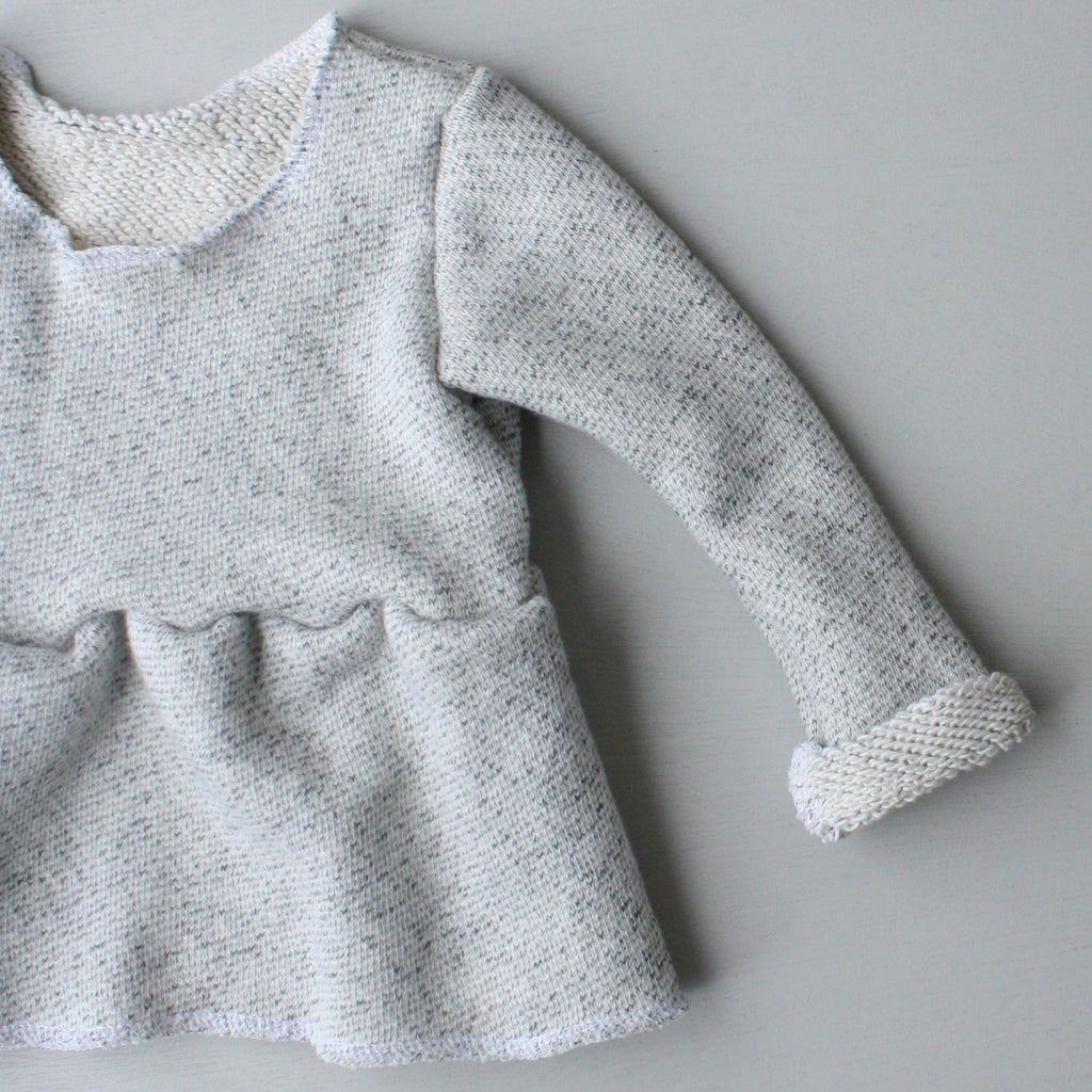 Peplum Sweater, Long Sleeve, Raw Hem, Salt & Pepper