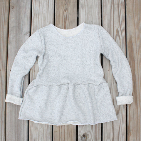 MAMA Peplum Sweater, Long Sleeve, Raw Hem, Salt & Pepper