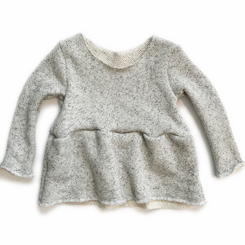 PREORDER Peplum Sweater, Long Sleeve, Raw Hem, Salt & Pepper