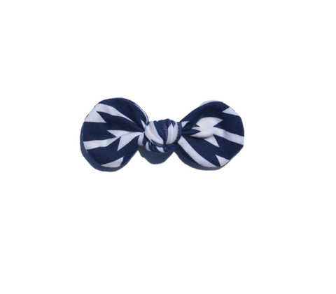 Knotted Bow Clip, Navy Tomahawk
