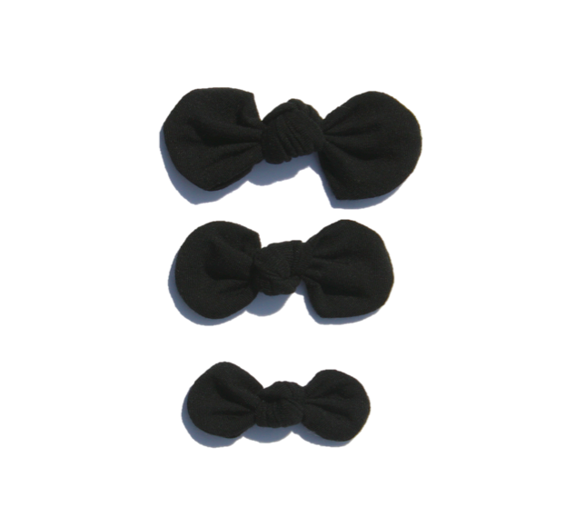 Knotted Bow Clip, Basic Black
