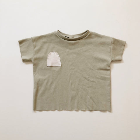 Organic Boxy Patch Pocket Tee, Sage