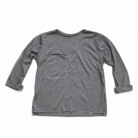 PREORDER Long Sleeve Pocket Tee, Black Stripe