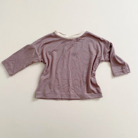 Boxy Tee, Long Sleeve, Mocha & Cream