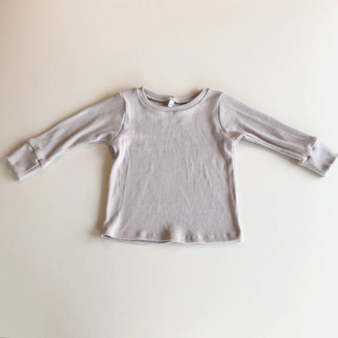 Basic Long Sleeve Rib Knit Tee, Taupe