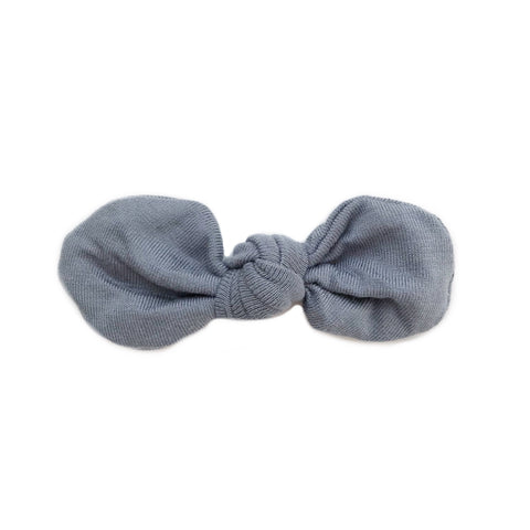 Knotted Bow Clip, Steel Blue