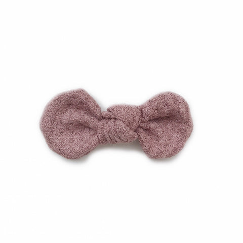 Knotted Bow Clip, Mauve Waffle