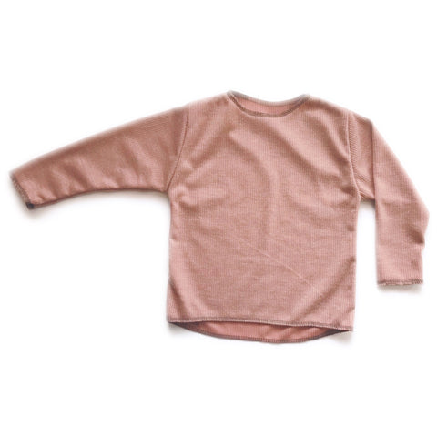 Long Sleeve Ribbed Top, Blush