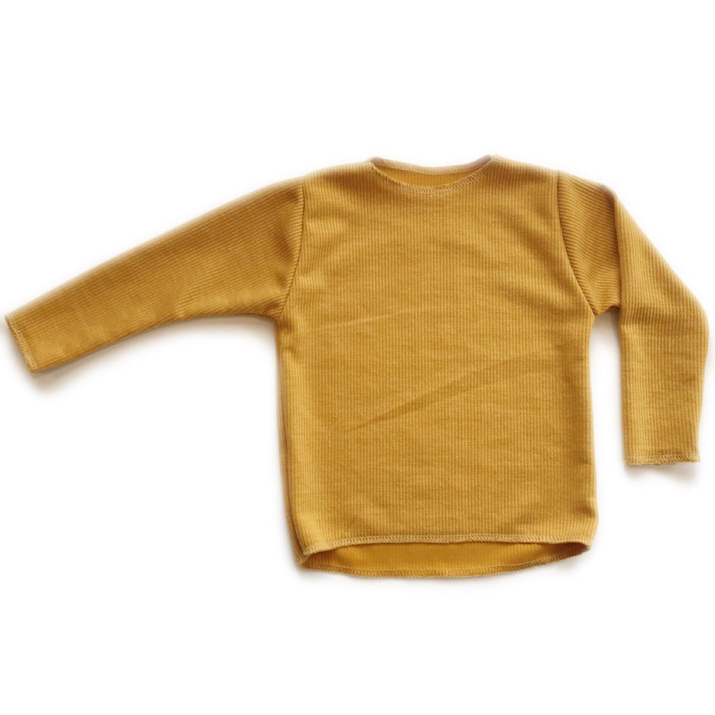 LAST ONE! Long Sleeve Ribbed Top, Mustard, 4T