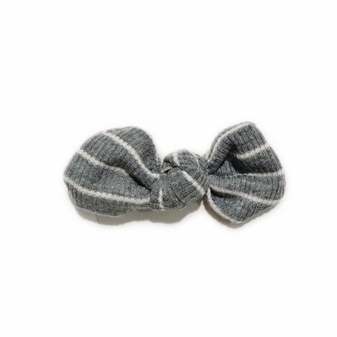 Knotted Bow Clip, Grey and White Stripe