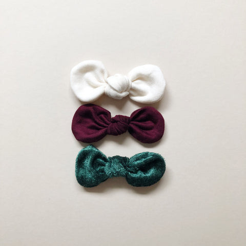 Knotted Bow Clips, Holiday Set No. 4