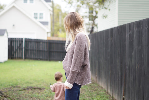 MAMA Oversize Boxy Sweater, Heathered Mocha