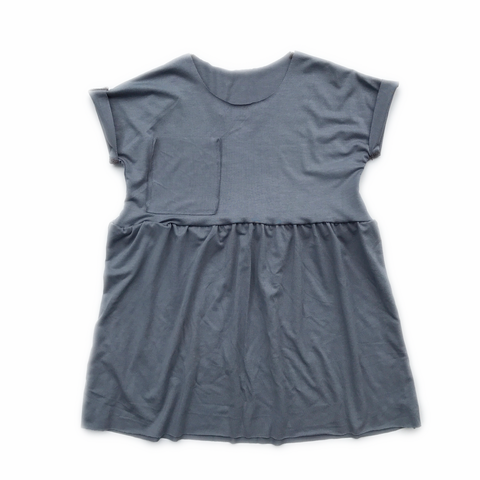 Peplum Pocket Dress, Steel Blue