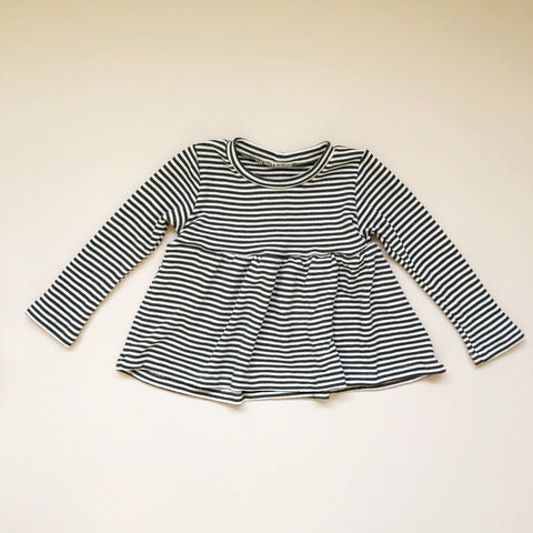 Peplum Long Sleeve, Hemmed, Deep Green Stripe