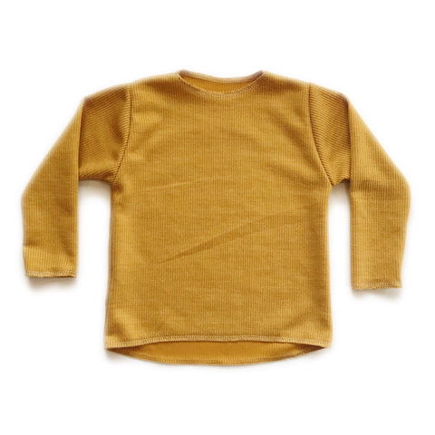 Long Sleeve Ribbed Top, Mustard