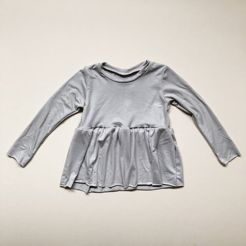 Peplum Long Sleeve, Raw Hem, Cement
