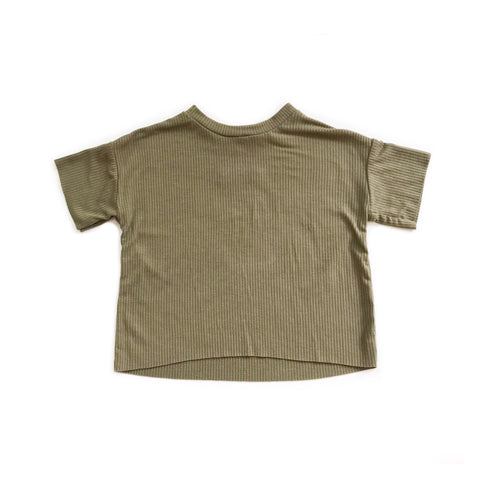 Boxy Rib Knit Tee, Light Olive