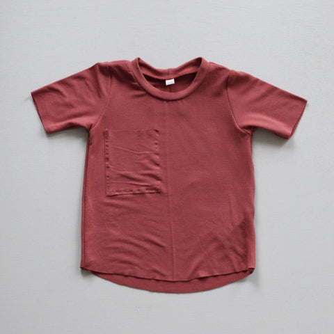 Raw Hem Pocket Tee, Pale Brick