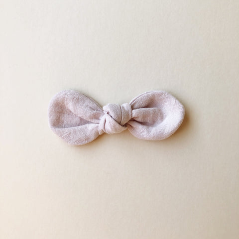 Knotted Bow Clip, Blush Linen