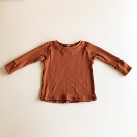 Basic Long Sleeve Rib Knit Tee, Rust