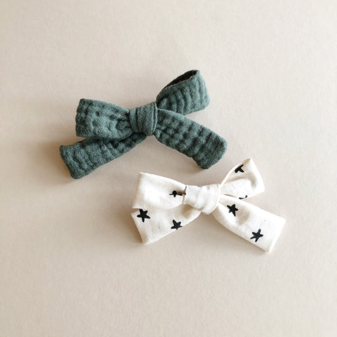 The Everyday Bow Set, Green/Stars