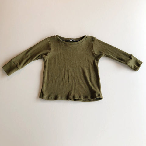 Basic Long Sleeve Rib Knit Tee, Moss