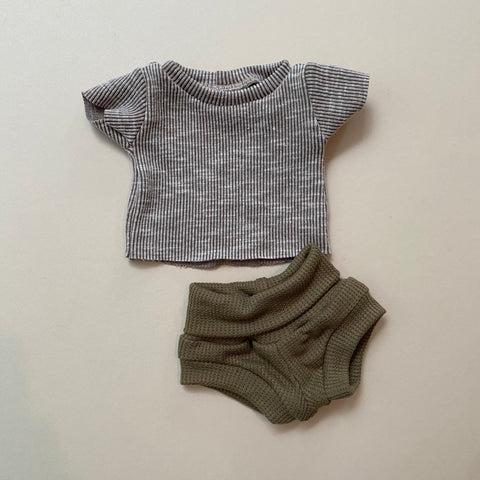Doll: Ribbed & waffle Neutral Set