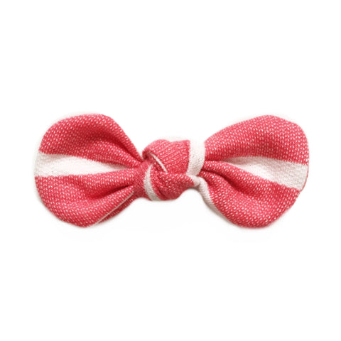 Knotted Bow Clip, Red Stripe