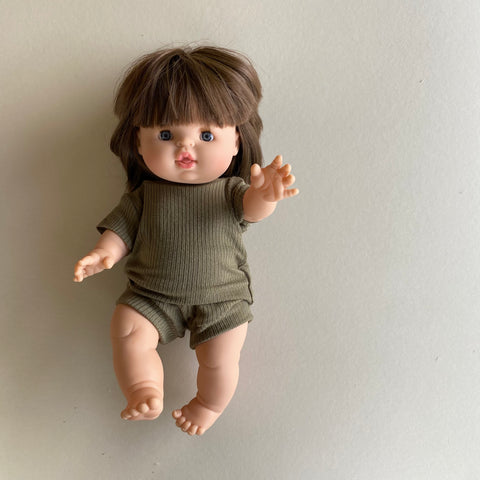 Doll: Ribbed Tee Set, Light Olive