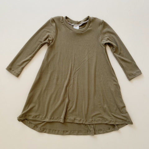 LIMITED Long Sleeve Swing Dress, Olive Ribbed