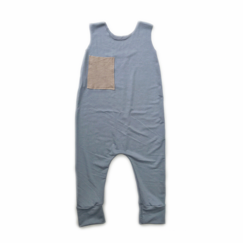 Pocket Romper, Steel Blue, 12-18mo