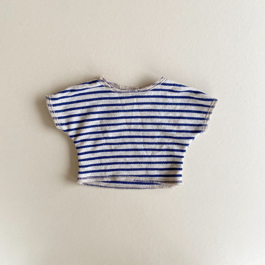 Doll: Raw Hem Tee, Blue Stripe