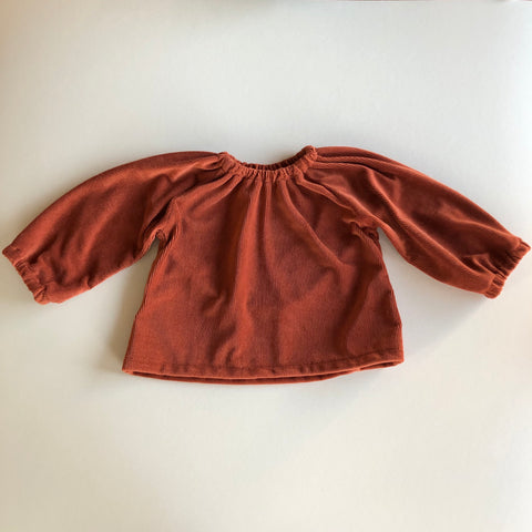 Peasant Top, Rust Velvet Ribbed