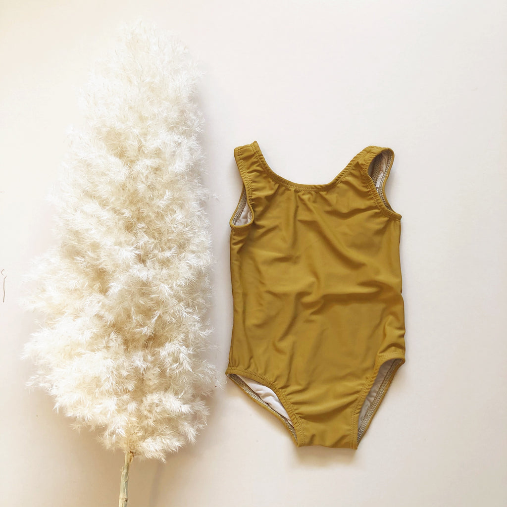 Scoop Back One Piece Swimsuit, Golden