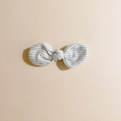 FINAL ONE! Knotted Bow Clip, Grey Stripe