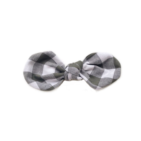 Knotted Bow Clip, Chalkboard Gingham