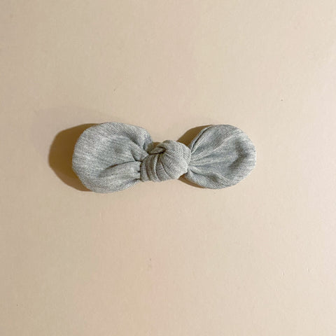 Knotted Bow Clip, Heathered Grey
