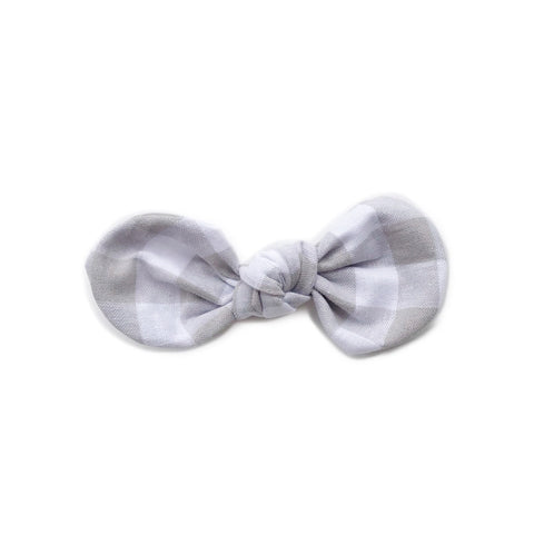 Knotted Bow Clip, Natural Gingham