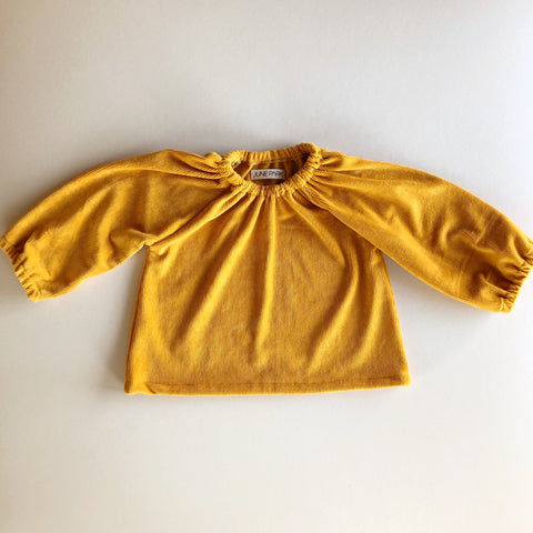 Peasant Top, Mustard Velvet Ribbed