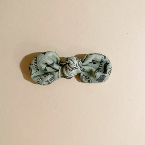 LAST ONE! Organic Knotted Bow Clip, Dinosaurs