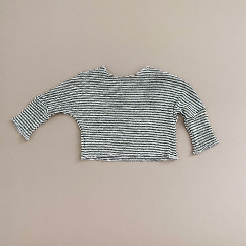Boxy Layering Top, LIGHTWEIGHT, Gold Fleck & Dark Green Stripe