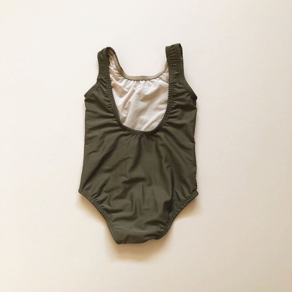 Scoop Back One Piece Swimsuit, Kelp