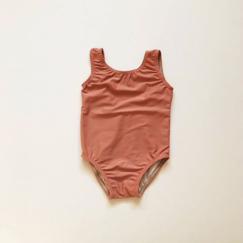 Scoop Back One Piece Swimsuit, Terra Cotta