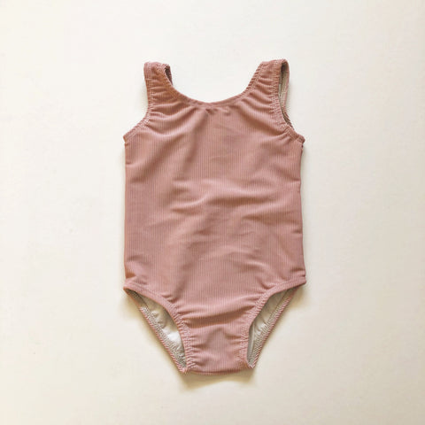 Scoop Back One Piece Swimsuit, Fawn Ribbed