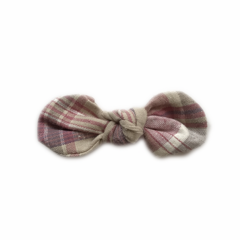 Knotted Bow Clip, Blush Plaid