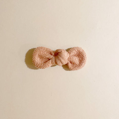 Organic Knotted Bow Clip, French Terry, Dusty Pink
