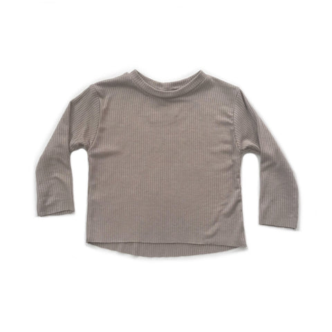 Long Sleeve Ribbed Top, Putty