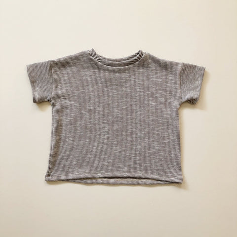Boxy Tee, Taupe Ribbed