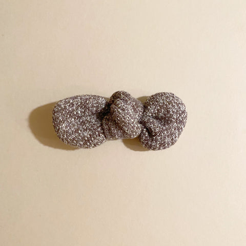 Knotted Bow Clip, Cozy Mocha
